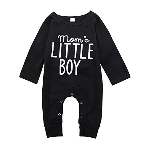 Brightup Baby Junge Langarm Spielanzug Overall mit Knöpfen Frühjahr Herbst Outfit Kleidung, Mom's Little Boy Gedruckt Overall (Boy Kleidung Weihnachten Baby)