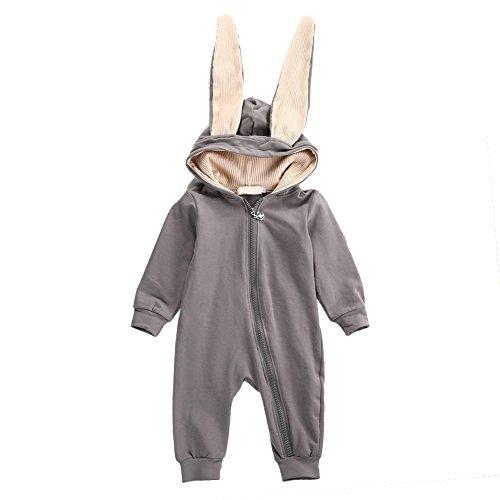 3t Halloween Kostüme Tier (Tangbasi Kleinkind Baby Spielanzug Schlafanzug Rompers Winter Herbst mit Kapuze Neugeborenes Hasen Ohren)