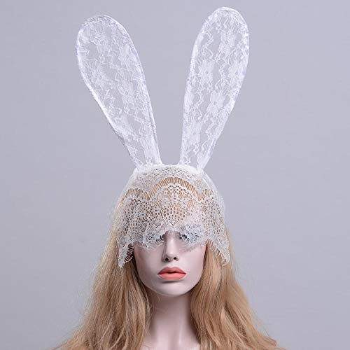 Kostüm Dance Bunny - uliaadela Spitze Big Bunny Ohren schwarz Stirnband Maske Dance Party Party Fotografie Halloween Headwear,Weiß