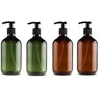 LAOZI 4Pcs 500ml Dispensador de jab/ón Botellas Botellas de Bomba Recargables Botellas de champ/ú vac/ías para dispensar lociones Champ/ús