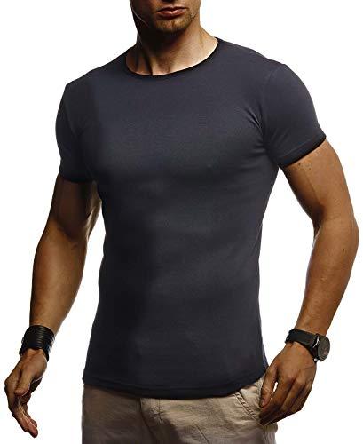 Jungen Muskel T-shirt (Leif Nelson Herren Sommer T-Shirt Rundhals Ausschnitt Slim Fit Baumwolle-Anteil Cooles Basic Männer T-Shirt Crew Neck Jungen Kurzarmshirt O-Neck Sweater Shirt Kurzarm LN8318 Schwarz Large)