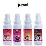 Pack de 6 unidades de Sirope JUMEL botella 1Kg. sin gluten multisabor fresa, caramelo, chocolate y frutas del bosque. Formato Hostelería. Botellas 1Kg.