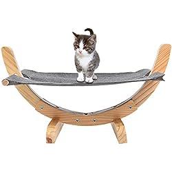 Petacc Práctico hamaca de madera cómoda cama de gato Hamaca marco de madera Hamaca gato con suave estera de lino, adecuado para gato, capacidad de peso superior
