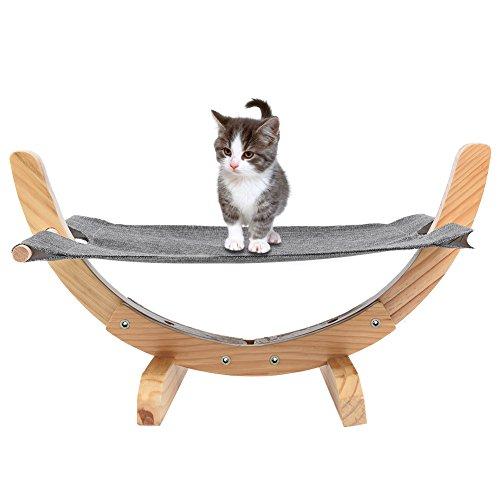 Petacc Katze Hängematte Hölzerne Bequeme Katzenbett Hängematte hölzerne Rahmen Katze Hängematte mit weichen Leinen Matte für Katze