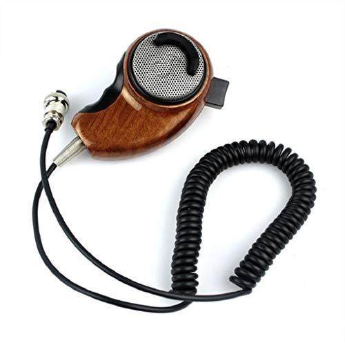 Demino HG-M84W 4Pin Ham Mic Holzmaserung Noise Cancelling Mikrofon Schulter Ersatz für Cobra Radio Walkie Talkie Meter Ham Radio