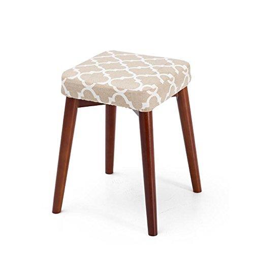 Rollsnownow Coussin gris Tabourets en bois massif Creative Fashion Dressing Tabouret Tabouret de table en tissu Accueil Petit Banc (Color : Brown wooden frame)