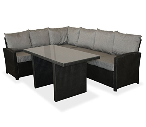 KMH, große Schwarze Gartensitzgruppe Lounge Esstisch Sofa Hannover inklusive Auflagen und Kissen...