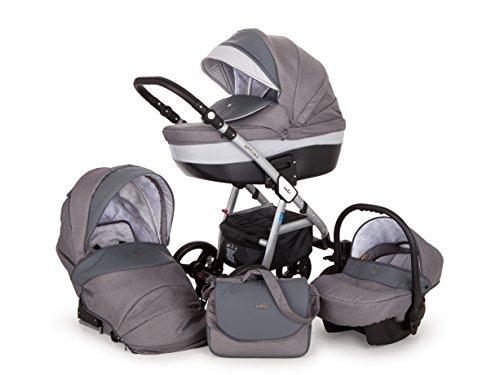 Lux4Kids Kinderwagen Set Babywanne Sportsitz Babyschale Wickeltasche Matratze Buggy 3in1 VIP Luxus Made in EU Ebur Grau
