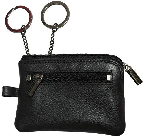 Josephine Osthoff Handtaschen-Manufaktur Nano - Schwarz - extra kleines Leder Schlüsseletui mit 2 Ringen an Kettchen 2 Reißverschlüsse Nano 2.
