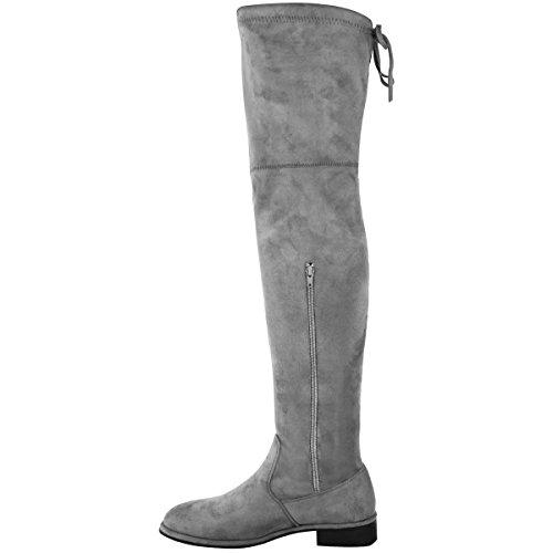 donna aderenti, alti sopra al ginocchio tacco basso e largo con lacci Slouch Stivali numero Grigio Finto Scamosciato