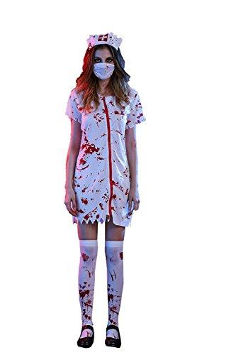 Thinkmax Erwachsene Bloody Nurse Skiller Scary Halloween oder Party Kostüm Gr. Krankenschwester M, (Halloween Kostüme Plus Uk Size Women's)