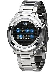 Binary THE ONE Zerone ZE102B2 - Reloj digital de caballero de cuarzo con correa de acero inoxidable plateada - sumergible a 30 metros