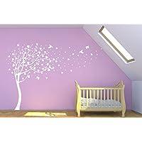 Designdivil - Decalcomania da parete grande, motivo albero dell'amore Decalcomania da parete di alta qualità, in vinile. d. All White
