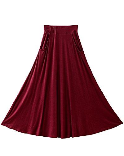 SaiDeng Donna Elastico In Vita Ampio Orlo Casual Lungo Gonna Con Tasche Rosso