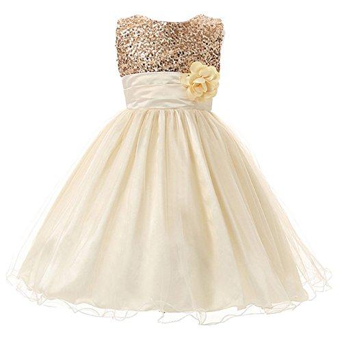 Eagsouni® Baby Mädchen Kinder Pailletten Prinzessin Kleid Festlich Brautjungfern Hochzeit Partykleid Kleider Kommunionkleid (Prom Gown Pageant)