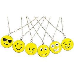 Set de collares LUX Accessories, 6 unidades, Emoji: feliz, triste, relajado, tímido, BFF