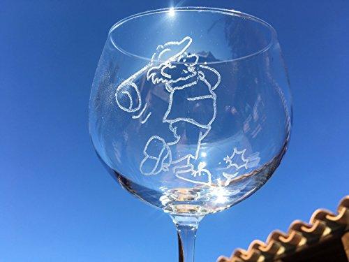 Copa de Gin Tonic, grabada a mano SIN LASER, con punta de diamante. No