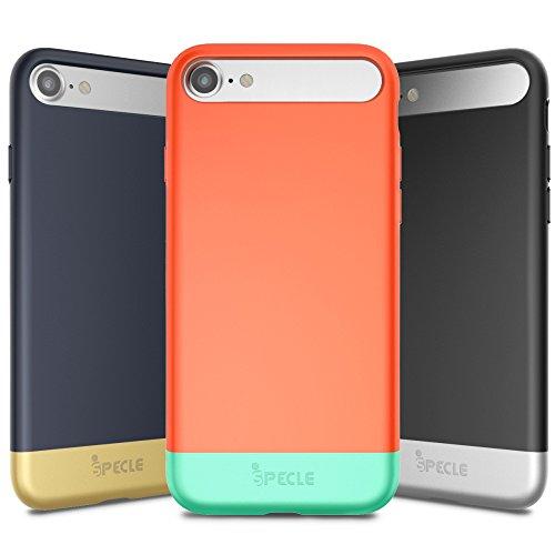 iSPECLE iPhone 7 Schutzhülle, 3 Pack abziehbare und partial gleitende Hülle mit TPU-Bumper und extra dünner Rückschale(4,7 Zoll) – stoßfester Schutz ohne auf die Optik zu verzichten (in schwarz, dunkelblau, korallenrot)