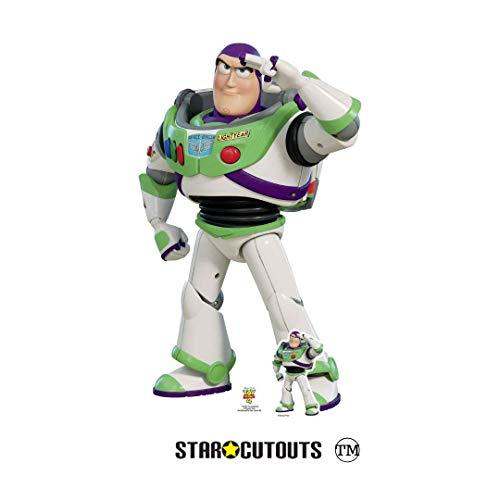 Star Cutouts SC1361 Toy Story 4 Lifesize Ausschnitt Buzz Lightyear Saluting, inklusive Tischaufsteller aus Pappe, 129 cm hoch, mehrfarbig