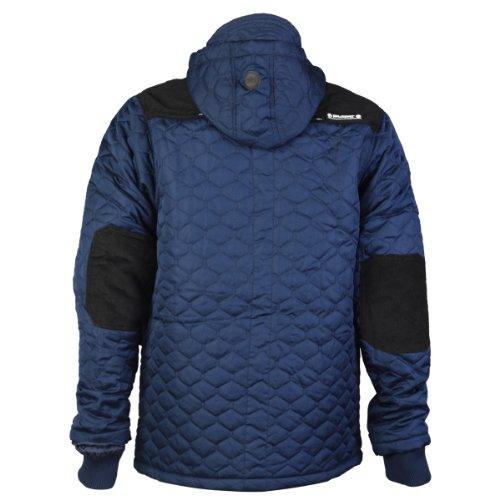 Rawcraft - Veste blouson doudoune pour homme matelassé patch velours capuche doublure hiver décontracté Bleu Marine