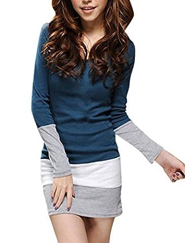 Allegra K Ladies Scoop Neck Long Sleeve Design Mini Dress Navy Blue XL