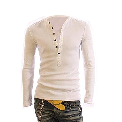 Men's Long Sleeve V-Neck Button Slim Fit Sport T-shirt Tops