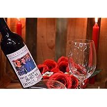 Botella vino personalizada foto para regalo papa familia
