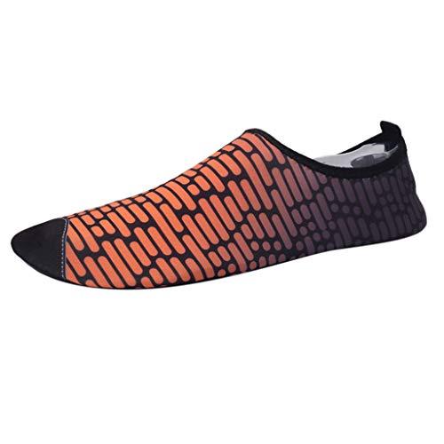 Xmiral Wasserschuhe Strandschuhe Paare Gummisohle Imitation Ziegel Gestreift Tauchschuhe Barfuß Hausschuh für Herren Damen Verschleißfest Badeschuhe Schuhe(Orange,41/42 EU)