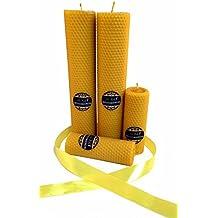 La Vela - Vela de calidad hecha a mano de 100% cera de abeja en varios tamaños - 13x4,5