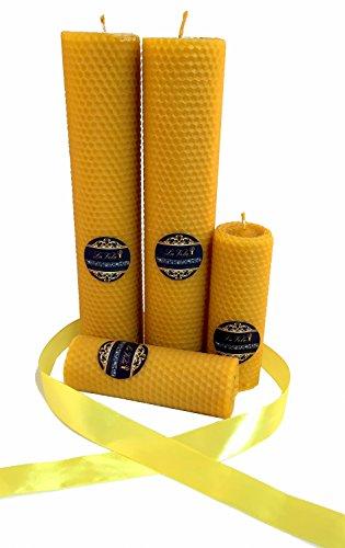 La Vela - Edle handgefertigte Qualitätskerze aus 100% Bienenwachs in verschiedenen Größen 45x130