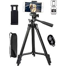 Tripode Movil,Trípode de cámara 42 Pulgadas de Aluminio Ligero Trípode Teléfono para Smartphone Iphone ,Soporte Flexible con el Obturador Alejado de Bluetooth(Negro)