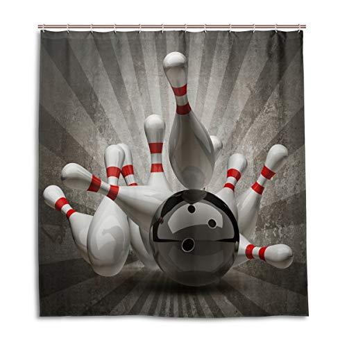 e Vintage Sport Bowling Ball Wasserdicht Schimmelresistent Bad Vorhang Badezimmer Home Decor 168 x 182 cm mit 12 Haken ()