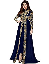 A And V Fashion Faux Embroidered Long Anarkali Suit