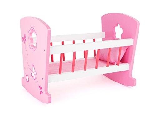 small foot 10742 Puppenwiege aus Holz in rosanen Farbtönen und detailreichen Verzierungen, leichtes Schaukeln durch gerundete Kufen, inkl. Kopfkissen, ideales Puppenzubehör