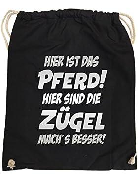 Comedy Bags - Hier ist das Pferd! Hier sind die Zügel mach's besser! - hipster Turnbeutel, bedruckter Gymbag aus...