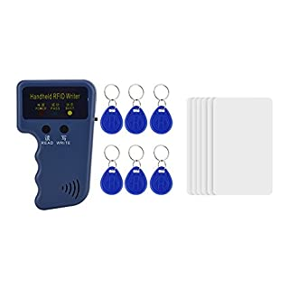 125KHz RFID ID Card Copier, Handheld RFID ID Card Copier Reader Writer Duplicator + 6 Writable Tags + 6 Cards