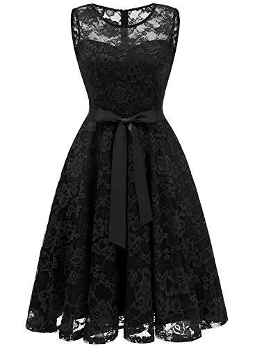 MUADRESS 6016 Damen Abendkleid Rockabilly Kleid Ärmellos kurz Brautjungfernkleid Festliches...
