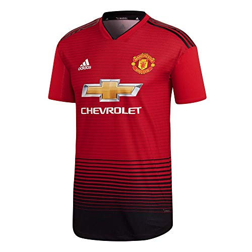 Adidas MUFC H AU JSY - Camiseta 1ª equipación Manchester United FC, Hombre, Rojo(ROJREA/Negro)