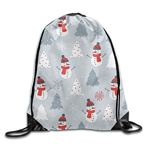 ZHIZIQIU White Snowman and Happy Winter Halloween Unisex Gym Drawstring Shoulder Bag Backpack String Bags