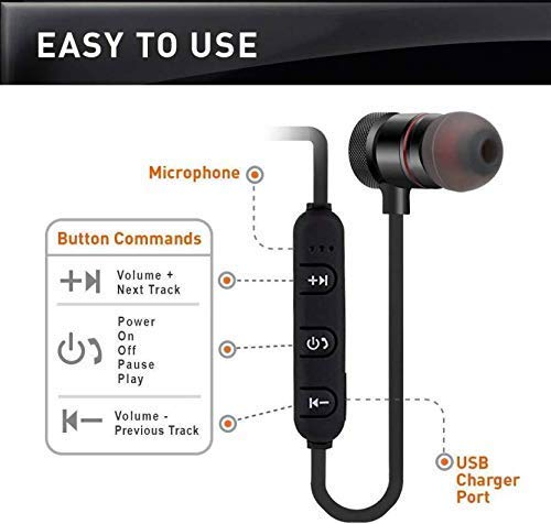 TISWAQ® Bluetooth Earphone Wireless Headphones for Mobile Phone Sports Stereo Jogger,Running,Gyming Bluetooth Headset Compatible with All Devices Image 3