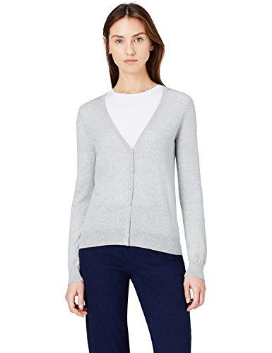 MERAKI Merino Strickjacke Damen mit V-Ausschnitt, Grau (Light Grey Marl), 38 (Herstellergröße: Medium)