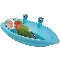 Belukies Tina de baño con espejo para pájaros, plástico, lavabo Alimentador del tazón de comida Loro pequeño
