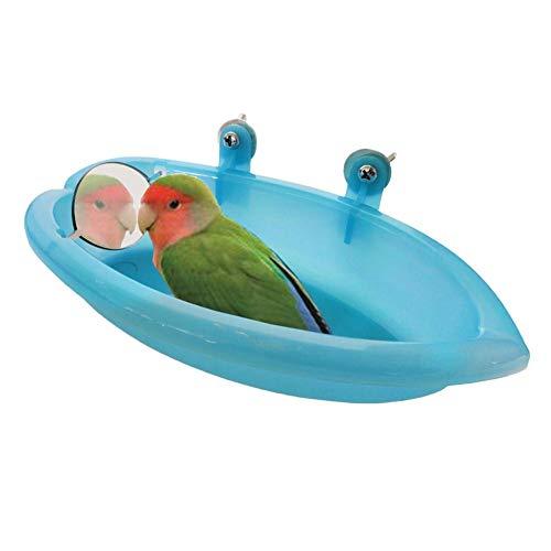 fairyy Tina para pájaros con Espejo pequeño para comedero de Comida, Jaula de Ducha para Loros pequeños y medianos