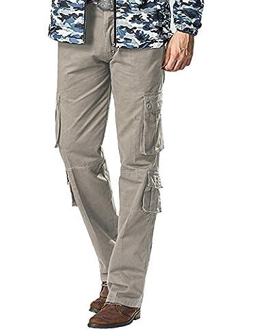 Menschwear Herren Cargo Hosen Freizeit Multi-Taschen Military pantaloni Ripstop Cargo da uomo (33,Grau)
