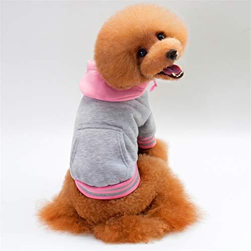 PZSSXDZW Hundepullover Neu Baumwolle Plus Samt Haustier Pullover Colorblock-Haube Pet Sportbekleidung Hundebekleidung Grey XX-Large