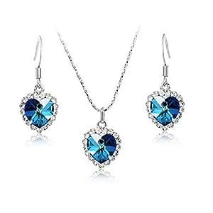 Yazilind Coeur bleu de l'ensemble de bijoux collier et boucles d'oreilles en cristal d'ocean pour les femmes