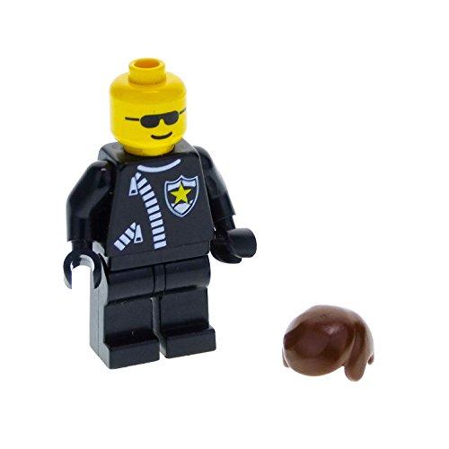 1 x Lego System Figur Mann Classic Town Torso schwarz Polizei Marke Stern Reißverschluss Kopf Sonnenbrille Haare kurz braun für Set 2150 trn043 (Lego System Classic-sets)