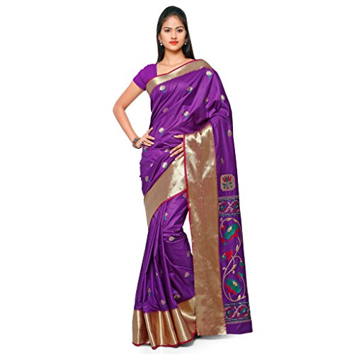 Varkala Silk Sarees Women's Art Silk Paithani Saree With Blouse Piece(JB5001WTPGVV_Purple_Free Size)