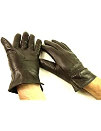 MENS NEW DARK BROWN FULLY FLEECE LINED LEATHER GLOVES