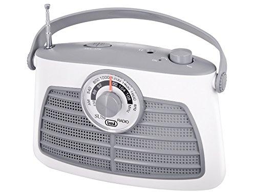 Trevi RA763V - Radio portable rétro AM-FM - Recherche de fréquences rotatif à aiguille - Alimentation secteur ou piles - Blanc